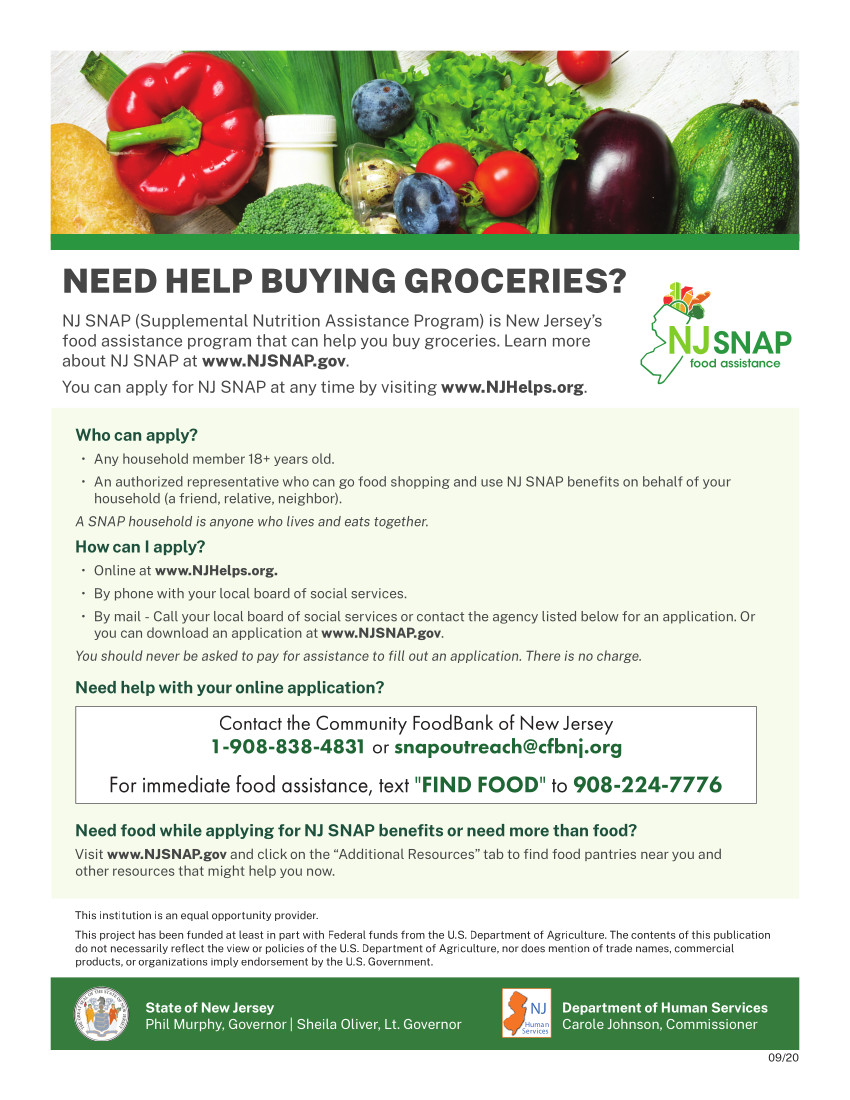 Community Food Bank of NJ SNAP assistance