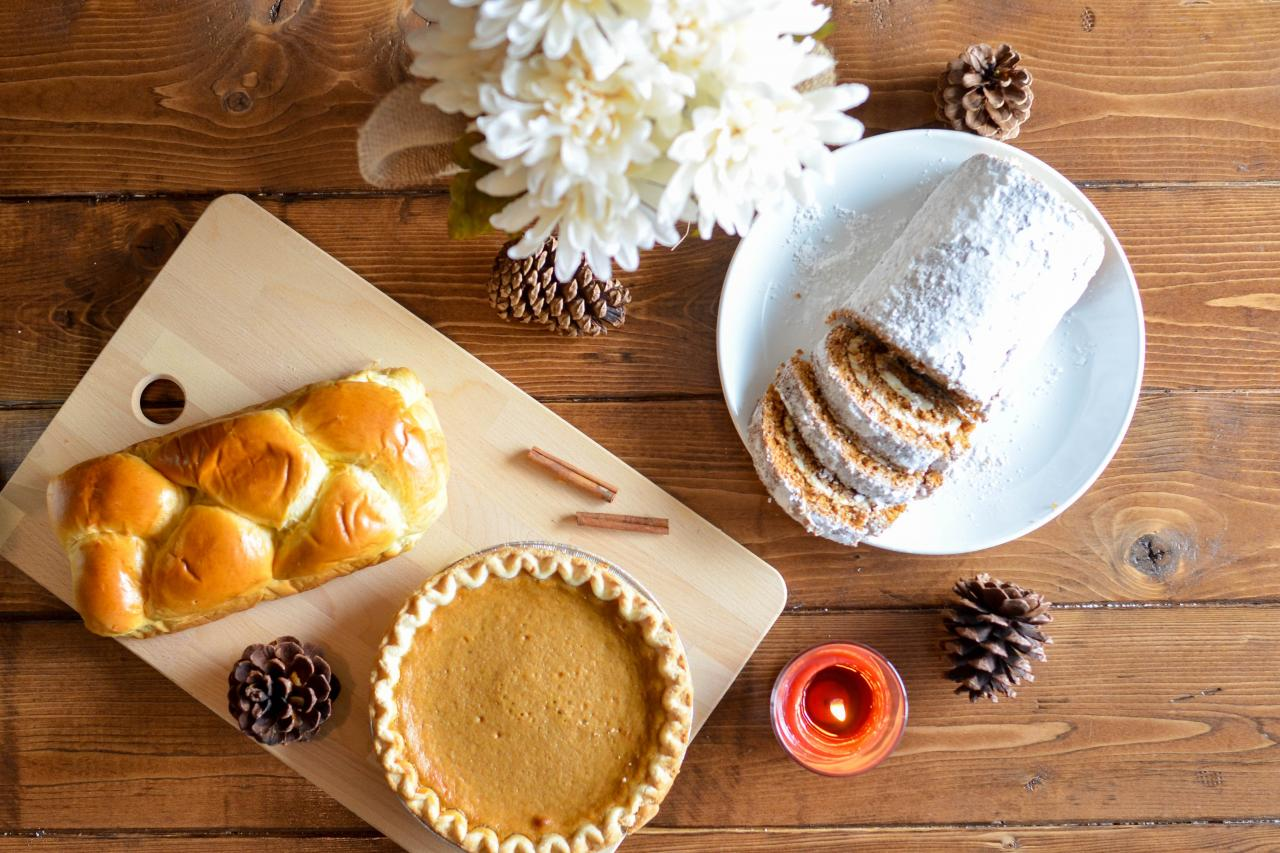 bread, roll cake, and pumpkin pie